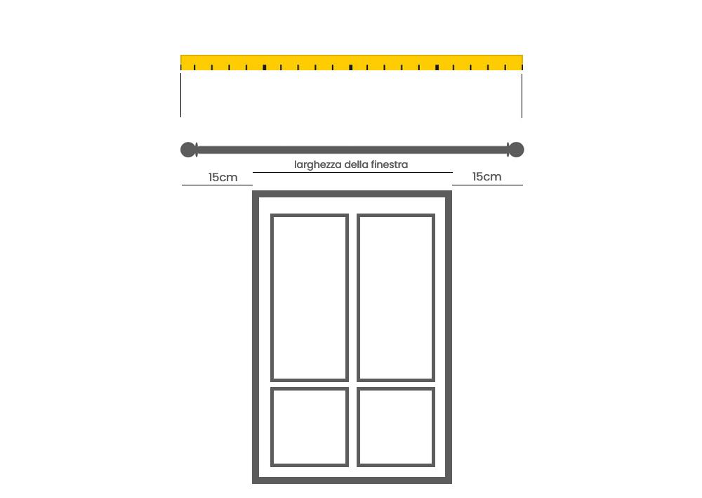 come prendere le misure per acquistare un bastone per finestre senza cassonetto